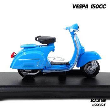 โมเดลรถเวสป้า VESPA 150CC สีฟ้า (1:18) โมเดลเวสป้าประกอบสำเร็จ