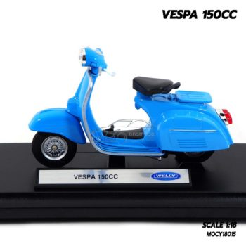 โมเดลรถเวสป้า VESPA 150CC สีฟ้า (1:18) โมเดลเวสป้าประกอบสำเร็จ เหมือนจริง
