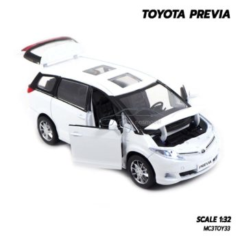 โมเดลรถ โตโยต้า Toyota Previa สีขาว (1:32) โมเดลประกอบสำเร็จ เปิดได้ครบ