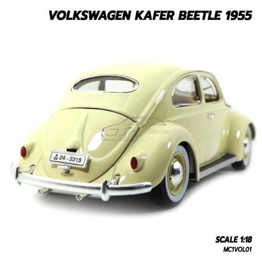 โมเดลรถ Volkswagen Beetle 1955 สีขาวครีม (1:18) รถเต่าเหมือนจริง