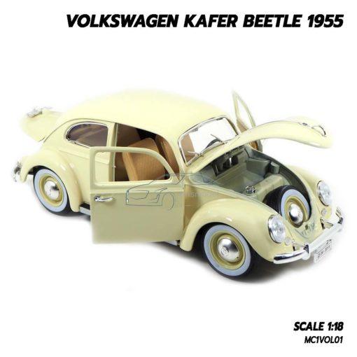 โมเดลรถ Volkswagen Beetle 1955 สีขาวครีม (1:18) โมเดลรถเต่า มียางอะไหล่เหมือนจริง