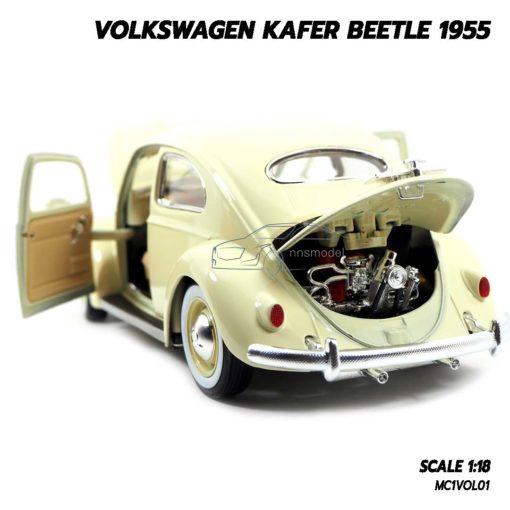 โมเดลรถ Volkswagen Beetle 1955 สีขาวครีม (1:18) โมเดลรถเต่า เครื่องยนต์เหมือนจริง
