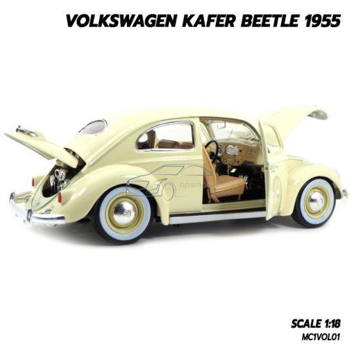 โมเดลรถ Volkswagen Beetle 1955 สีขาวครีม (1:18) โมเดลรถเต่า ประกอบสำเร็จ
