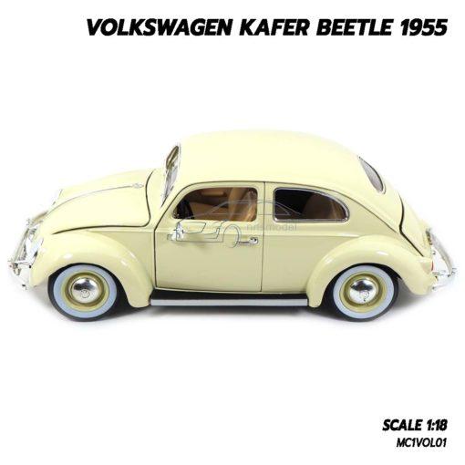 โมเดลรถ Volkswagen Beetle 1955 สีขาวครีม (1:18) โมเดลรถเต่า ประกอบสำเร็จ พร้อมตั้งโชว์