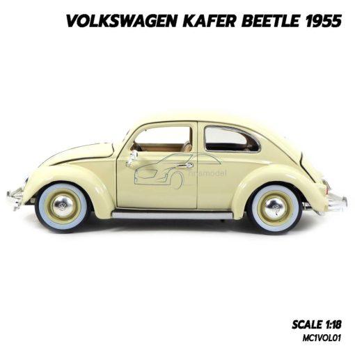 โมเดลรถ Volkswagen Beetle 1955 สีขาวครีม (1:18) โมเดลรถเต่า ประกอบสำเร็จ ผลิตโดย Burago
