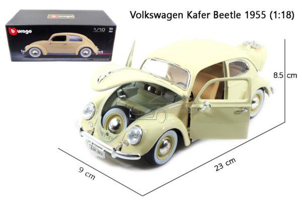 โมเดลรถ Volkswagen Beetle 1955 สีขาวครีม (1:18) โมเดลรถเต่า ประกอบสำเร็จ จำลองเหมือนจริง