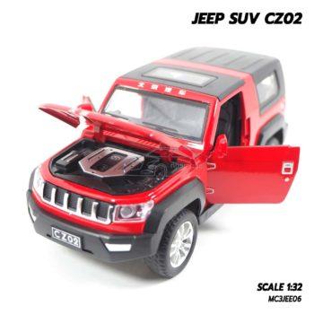โมเดลรถ Jeep SUV สีแดง ประกอบสำเร็จ เครื่องยนต์เหมือนจริง