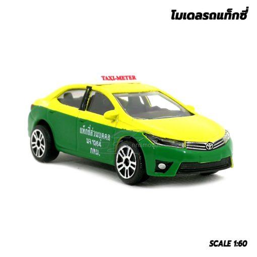 โมเดลรถ แท็กซี่ สีเขียวเหลือง Toyota Corolla Altis รุ่นขายดี