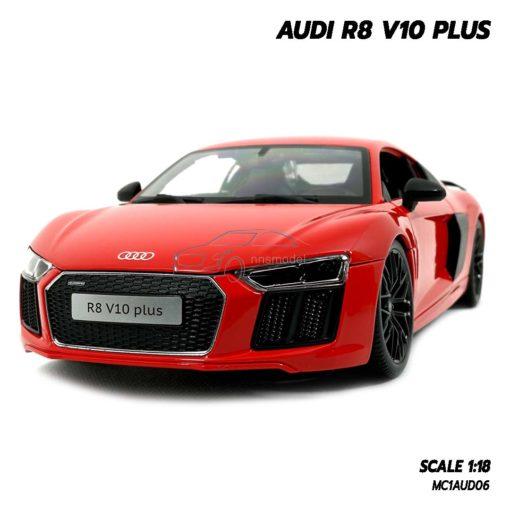 โมเดลรถ AUDI R8 V10 PLUS สีแดง (Scale 1:18)