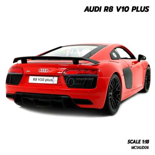 โมเดลรถ AUDI R8 V10 Plus สีแดง (Scale 1:18) โมเดลรถของสะสม เหมือนจริง
