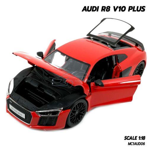 โมเดลรถ AUDI R8 V10 Plus สีแดง (Scale 1:18) โมเดลรถสะสม ผลิตโดยแบรนด์ Maisto