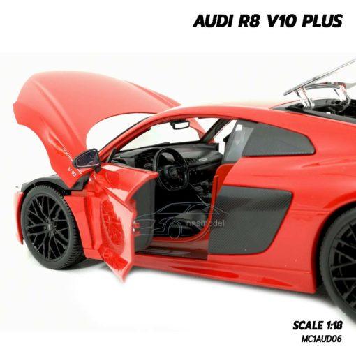 โมเดลรถ AUDI R8 V10 Plus สีแดง (Scale 1:18) โมเดลรถสะสม ภายในรถเหมือนจริง