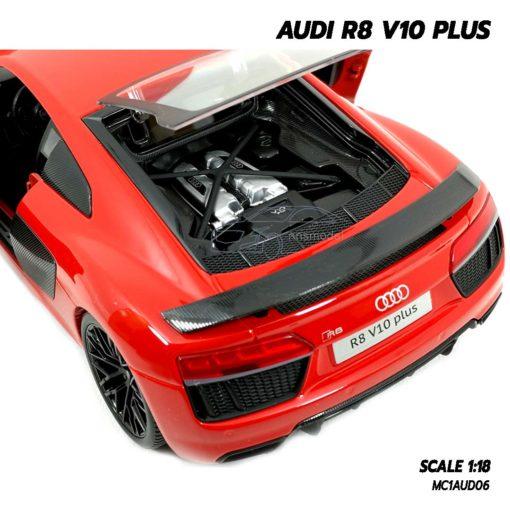 โมเดลรถ AUDI R8 V10 Plus สีแดง (Scale 1:18) โมเดลรถสะสม เครื่องยนต์เหมือนจริง