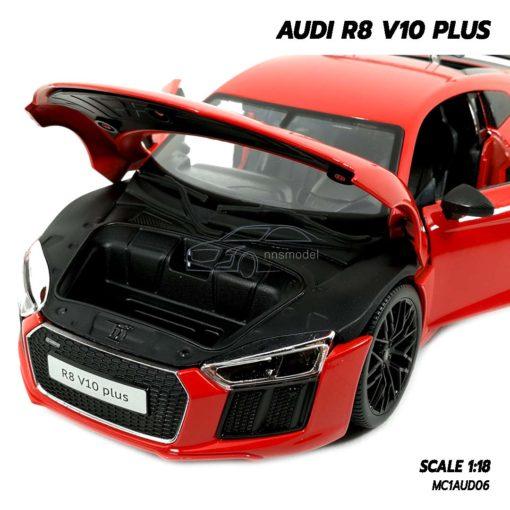 โมเดลรถ AUDI R8 V10 Plus สีแดง (Scale 1:18) โมเดลรถสะสม เปิดฝากระโปรงหน้าได้