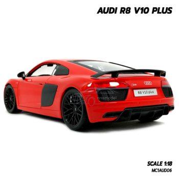 โมเดลรถ AUDI R8 V10 Plus สีแดง (Scale 1:18) โมเดลรถสะสม ประกอบสำเร็จ