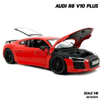 โมเดลรถ AUDI R8 V10 Plus สีแดง (Scale 1:18) โมเดลรถสะสม เปิดได้ครบ