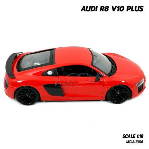 โมเดลรถ AUDI R8 V10 Plus สีแดง (Scale 1:18) โมเดลรถสะสม พร้อมฐานตั้งโชว์