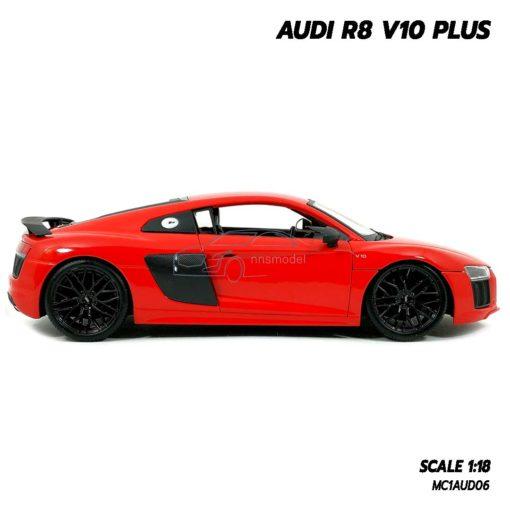 โมเดลรถ AUDI R8 V10 Plus สีแดง (Scale 1:18) โมเดลรถสะสม ผลิตโดย Maisto