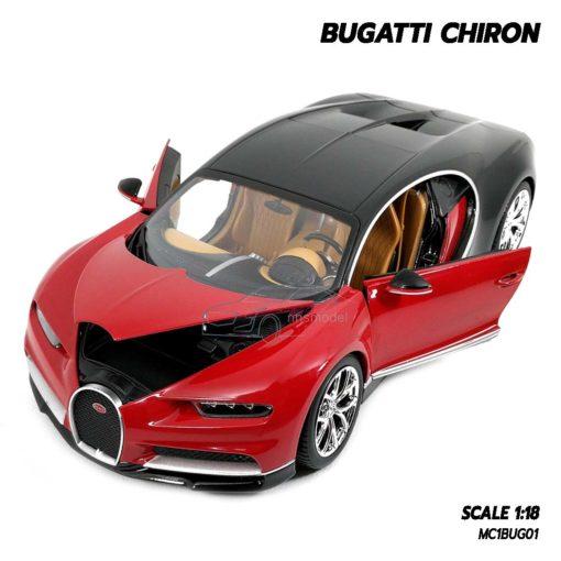 โมเดลรถ BUGATTI CHIRON สีแดงดำ (Scale 1:18) โมเดลรถสปอร์ต เปิดประตูซ้ายขวาได้