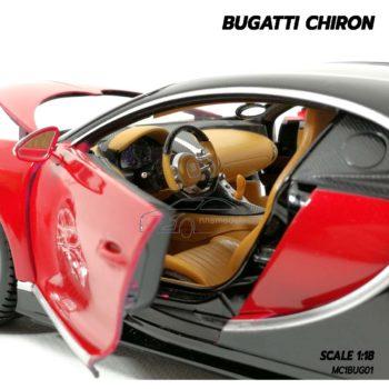 โมเดลรถ BUGATTI CHIRON สีแดงดำ (Scale 1:18) โมเดลรถสปอร์ต ภายในเหมือนจริง