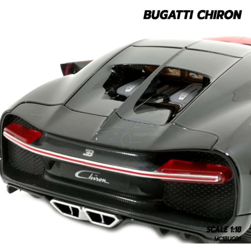 โมเดลรถ BUGATTI CHIRON สีแดงดำ (Scale 1:18) โมเดลรถสปอร์ต เครื่องยนต์จำลองเหมือนจริง