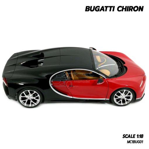 โมเดลรถ BUGATTI CHIRON สีแดงดำ (Scale 1:18) โมเดลรถสปอร์ต ประกอบสำเร็จพร้อมตั้งโชว์