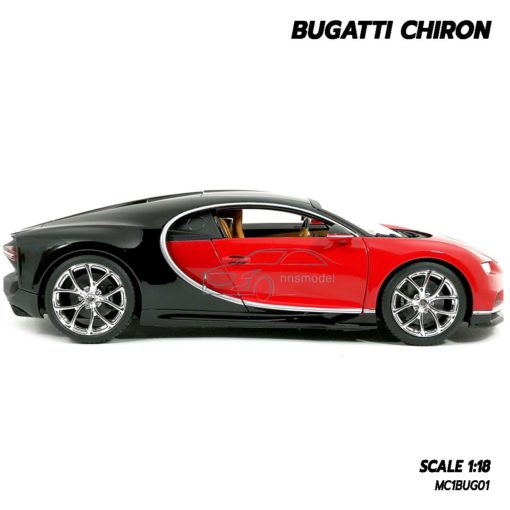 โมเดลรถ BUGATTI CHIRON สีแดงดำ (Scale 1:18) โมเดลรถสปอร์ต ประกอบสำเร็จพร้อมตั้งโชว์ ผลิตโดย Burago