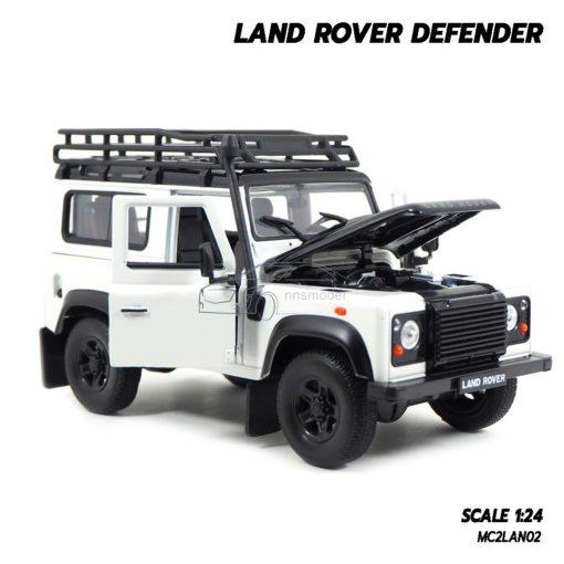 โมเดลรถ LAND ROVER DEFENDER สีขาว (Scale 1:24) โมเดลรถสะสม เปิดฝากระโปรงหน้ารถได้