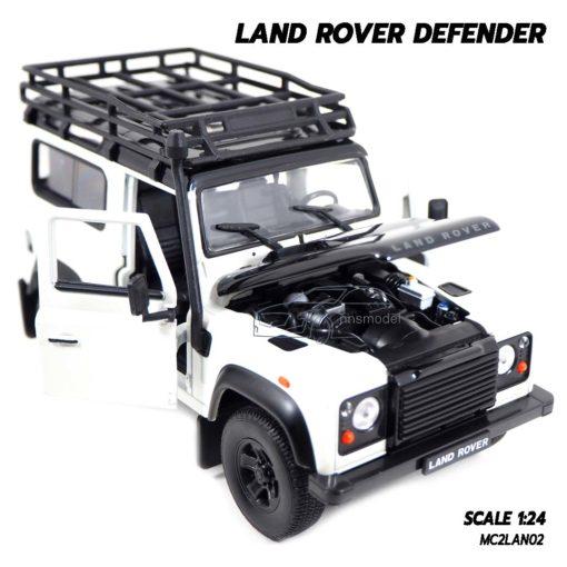 โมเดลรถ LAND ROVER DEFENDER สีขาว (Scale 1:24) โมเดลรถสะสม เครื่องยนต์เหมือนจริง