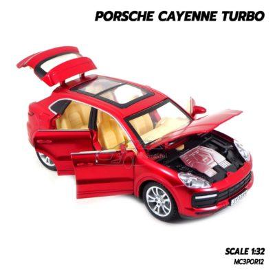 โมเดลรถ Porsche Cayenne Turbo สีแดง (1:32) รถเหล็ก พร้อมตั้งโชว์ เป็นของขวัญ