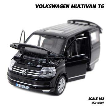 โมเดลรถตู้ VOLKSWAGEN MULTIVAN T6 สีดำ เปิดประตูได้ครบ