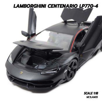 โมเดล แลมโบกินี่ LAMBORGHINI CENTENARIO LP770-4 สีดำด้าน (1:18) โมเดลรถเหล็ก เปิดฝากระโปรงหน้าได้