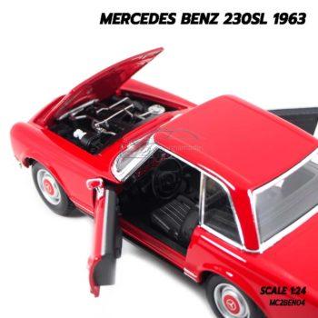 โมเดลรถคลาสสิค MERCEDES BENZ 230SL 1963 สีแดง (1:24) รถเหล็กโมเดล เครื่องยนต์จำลองเหมือนจริง