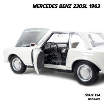 โมเดลรถเบนซ์ MERCEDES BENZ 230SL 1963 สีขาว (1:24) โมเดลรถเหล็ก ภายในรถเหมือนจริง