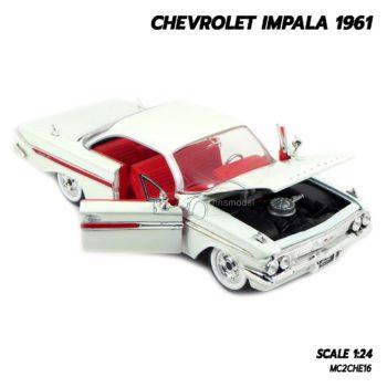 โมเดลรถ CHEVROLET IMPALA 1961 สีขาว (1:24) โมเดลรถเหล็ก เปิดฝากระโปรงหน้าได้