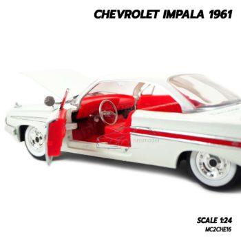 โมเดลรถ CHEVROLET IMPALA 1961 สีขาว (1:24) โมเดลรถเหล็ก ภายในรถจำลองเหมือนจริง