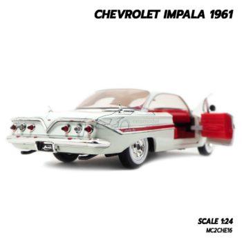 โมเดลรถ CHEVROLET IMPALA 1961 สีขาว (1:24) โมเดลรถเหล็ก เปิดฝากระโปรงท้ายรถได้