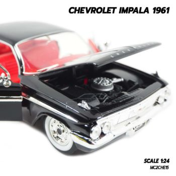 โมเดลรถ CHEVROLET IMPALA 1961 สีดำ (1:24) โมเดลรถเหล็ก เครื่องยนต์จำลองเหมือนจริง