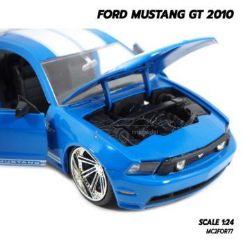 โมเดลรถ FORD MUSTANG GT 2010 สีขาวฟ้า Jada Toy รถโมเดลจำลอง เครื่องยนต์สมจริง