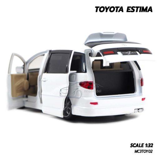 โมเดลรถ TOYOTA ESTIMA สีขาว (Scale 1:32) โมเดลรถเหล็ก ฝากระโปรงท้ายเปิดได้