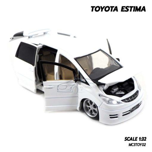โมเดลรถ TOYOTA ESTIMA สีขาว (Scale 1:32) โมเดลรถเหล็ก เครื่องยนต์จำลองเหมือนจริง