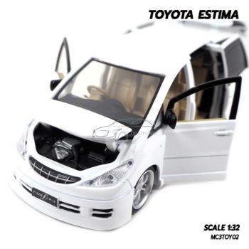 โมเดลรถ TOYOTA ESTIMA สีขาว (Scale 1:32) โมเดลรถเหล็ก เปิดฝากระโปรงหน้ารถได้