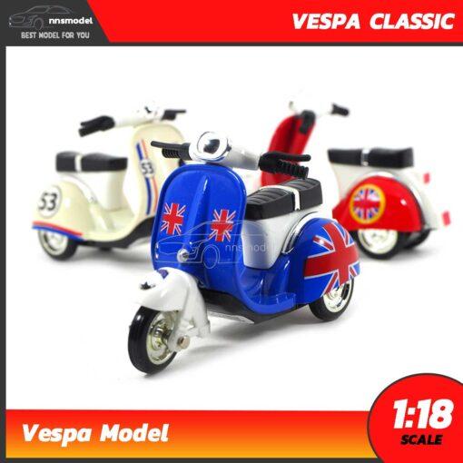 โมเดลเวสป้าคลาสสิค 3 ล้อ Vespa Classic สีน้ำเงิน