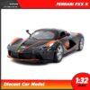 โมเดลรถเหล็ก FERRARI FXX K (Scale 1:32) โมเดลเฟอร์รารี่ มีเสียงมีไฟ สีดำส้ม