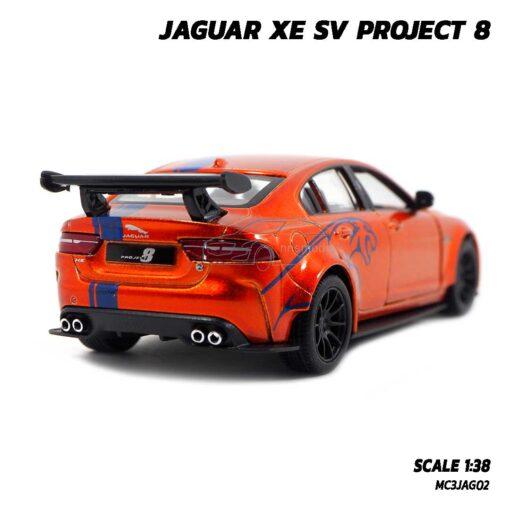 โมเดลรถเหล็ก JAGUAR XE SV PROJECT 8 สีน้ำตาลส้มคาดลาย (Scale 1:38) รถโมเดล จากัวร์ ประกอบสำเร็จ พร้อมตั้งโชว์