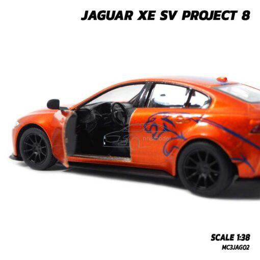โมเดลรถเหล็ก JAGUAR XE SV PROJECT 8 สีน้ำตาลส้มคาดลาย (Scale 1:38) รถโมเดล จากัวร์ ภายในรถสมจริง