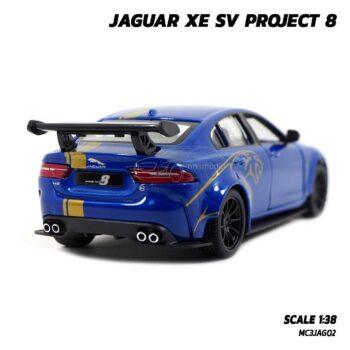 โมเดลรถเหล็ก JAGUAR XE SV PROJECT 8 สีน้ำเงินคาดลาย (Scale 1:38) รถโมเดล จากัวร์ พร้อมตั้งโชว์