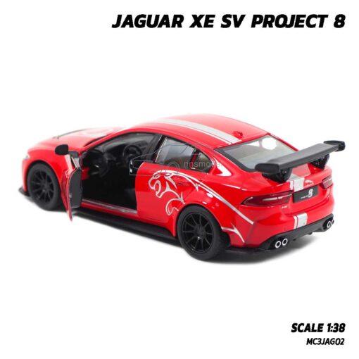 โมเดลรถเหล็ก JAGUAR XE SV PROJECT 8 สีแดงคาดลาย (Scale 1:38) โมเดลรถสปอร์ต ภายในรถเหมือนจริง