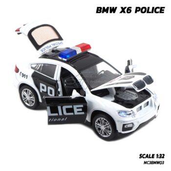 โมเดลรถตำรวจ BMW X6 Police (1:32) รถเหล็กโมเดล เปิดได้ครบ