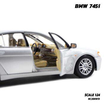 โมเดลรถยนต์ BMW 745i สีบรอนด์ (Scale 1:24) รถเหล็กจำลอง ภายในรถจำลองสมจริง พร้อมตั้งโชว์